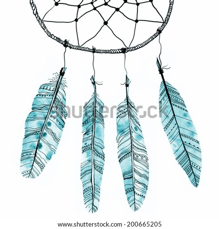 Abstract dream catcher with watercolor feathers. Raster illustration. - stock photo