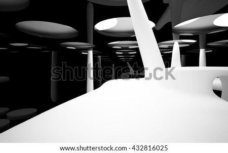 Abstract dynamic black interior with white round objects. 3D illustration. 3D rendering