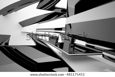 Abstract dynamic interior with black smoth objects . 3D illustration and rendering