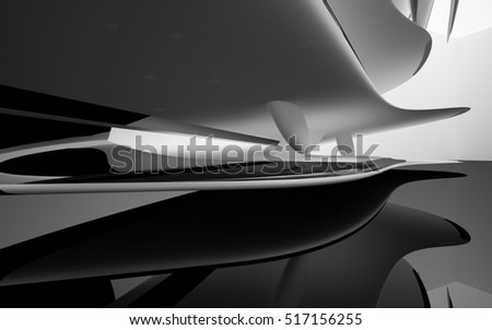 Abstract dynamic interior with black white smoth objects . 3D illustration and rendering