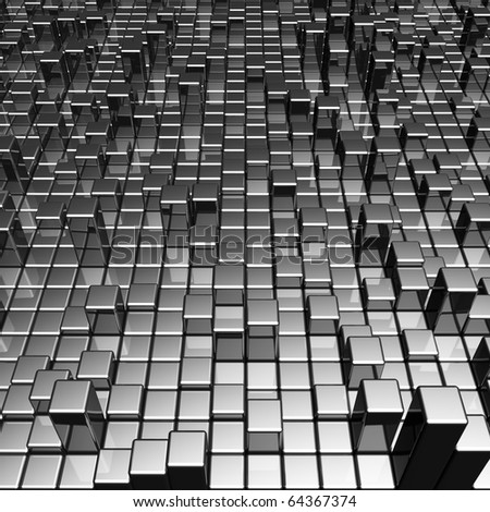 Abstract dynamic metal block background 3d illustration - stock photo