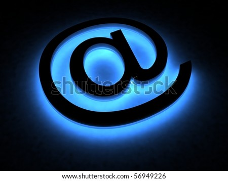Abstract E-mail symbol in the neon light - stock photo