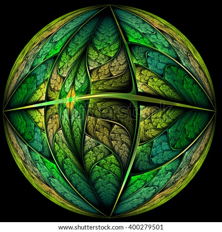 Abstract earth day themed fractal planet, digital artwork for creative graphic design - stock photo