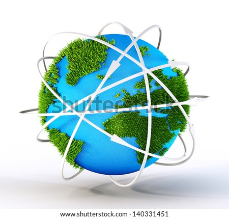 abstract earth isolated on a white background - stock photo