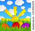 Abstract Easter eggs made of paper on colorful spring background with green grass, sun, sky and clouds. Raster copy of vector illustration - stock photo