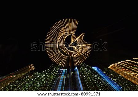 Abstract effect of Ramadan crescent - stock photo