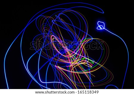 """Abstract effects made with """"paint with light"""" photo technique.(Useful for latter design work) - stock photo"""