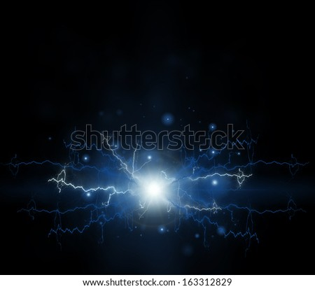 Abstract electric effect. Flash on a black background