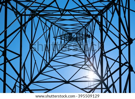 abstract electrical tower seen from below