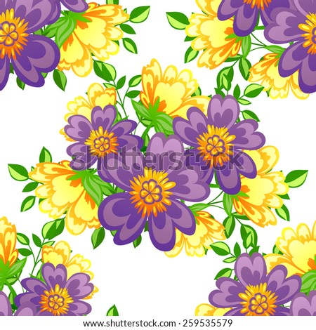 Abstract Elegance Seamless pattern with floral background - stock photo