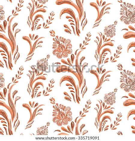 Abstract elegance seamless pattern with floral background. Hand drawn illustration in Ukrainian folk style. Ukrainian folk art. Raster version. - stock photo