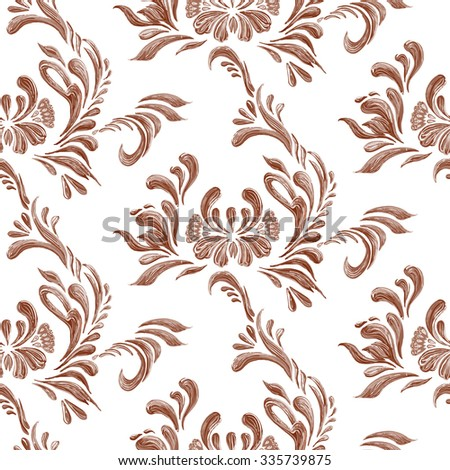 Abstract elegance seamless pattern with floral background. Hand drawn illustration. Raster version. - stock photo