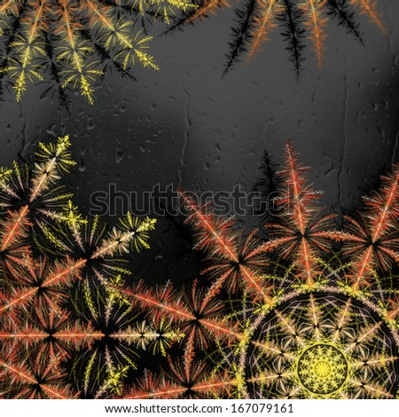 Abstract elegant background with circle ornaments look like stylized colorful snowflakes and flowing rain drops on metallic black surface