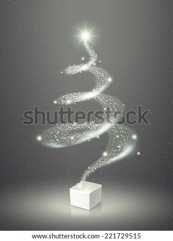 abstract elegant sparkling Christmas tree over grey  - stock photo