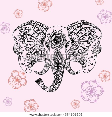 abstract elephant in Indian style mehndi hand drawing - stock photo