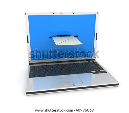 Abstract email laptop (done in 3d) - stock photo