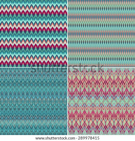 abstract emerald tribal pattern textures, intricate ethnic textile background set - stock photo