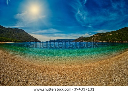 Abstract Empty Beach Bay at Sunset - stock photo