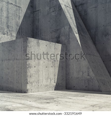 Abstract empty concrete interior with geometric shapes, square 3d render illustration, modern architecture square background  - stock photo