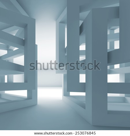 Abstract empty 3d blue modern interior with chaotic cube constructions - stock photo