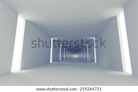 Abstract empty 3d interior background with corridor perspective and lights - stock photo