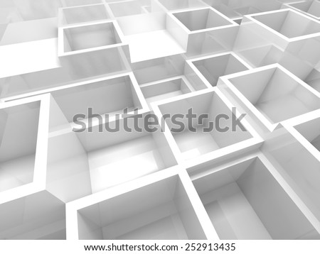 Abstract empty 3d interior fragment with white square cells - stock photo