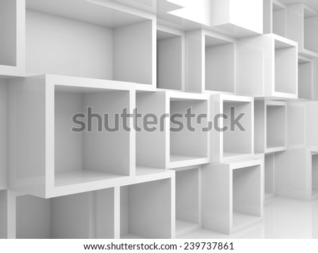 Abstract empty 3d interior with white square shelves on the wall