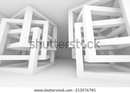 Abstract empty 3d white modern interior with chaotic cube constructions - stock photo