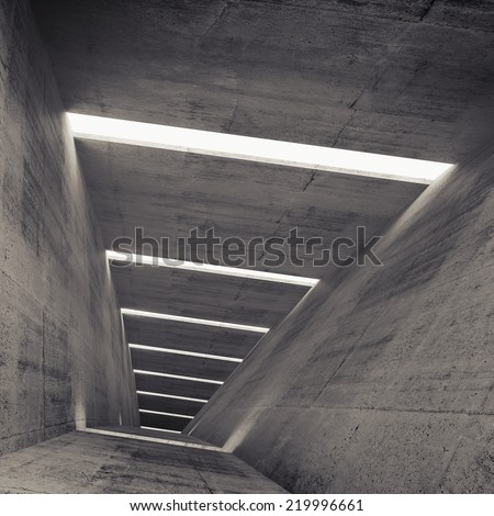 Abstract empty dark concrete tunnel interior, 3d background - stock photo