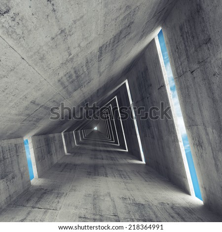 Abstract empty gray concrete interior, 3d render of tunnel perspective  - stock photo
