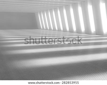 Abstract empty illuminated light blue shining corridor interior, 3d render illustration - stock photo