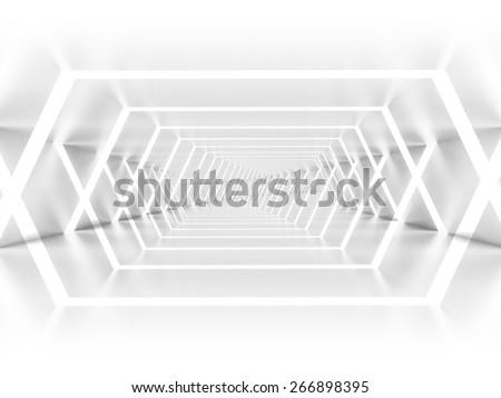 Abstract empty illuminated white shining corridor interior, 3d render illustration - stock photo
