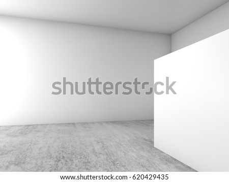 Abstract empty interior background, blank white banner stands on concrete floor, open space architecture design. 3d illustration