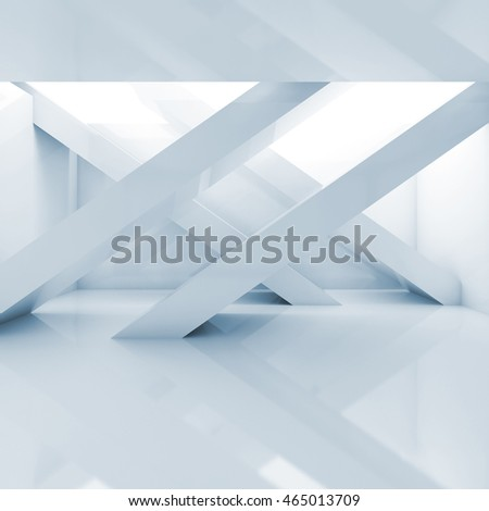 Abstract empty interior square background, room with girders and soft illumination. Blue toned 3d illustration, computer graphic