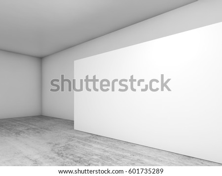 Abstract empty interior, white banner on concrete floor, contemporary architecture design. 3d render illustration