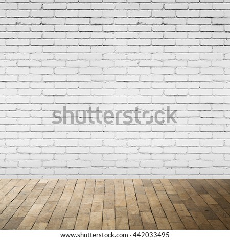 Abstract empty interior with wooden floor and white brick wall, square background photo texture