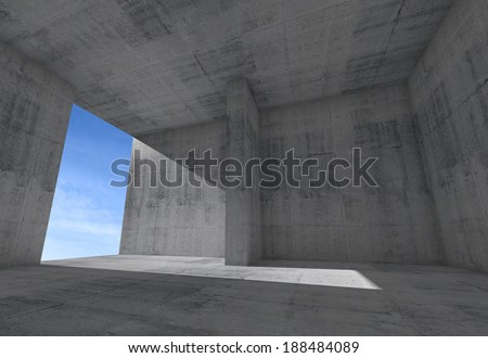 Abstract empty room interior with concrete walls and blue sky in the window - stock photo