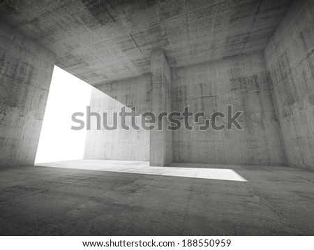 Abstract empty room interior with concrete walls and glowing door - stock photo