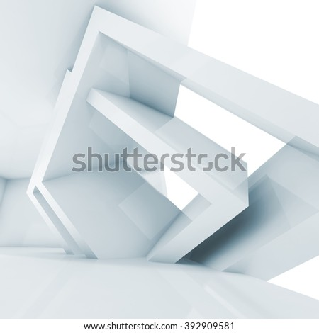Abstract empty room interior with cubic structures. Architecture background, square blue toned 3d illustration