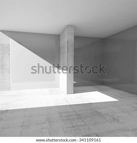 Abstract empty room interior with gray walls and concrete floor, 3d illustration - stock photo