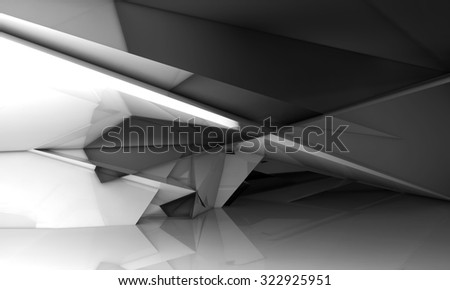 Abstract empty room interior with shining chaotic polygonal crystal structure, 3d illustration, digital background  - stock photo