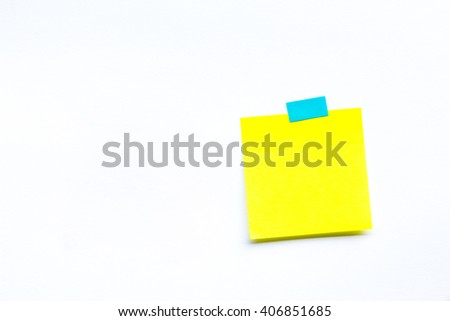 Abstract empty sticky note, isolated on white background - stock photo
