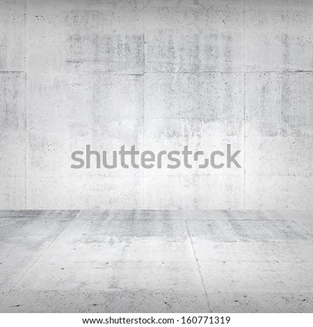 Abstract empty white interior with concrete wall and floor - stock photo