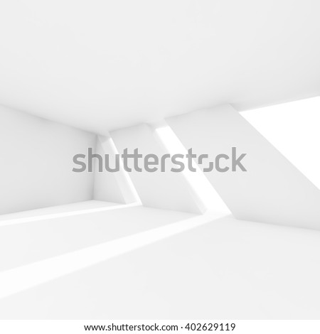 Abstract empty white interior with windows and sunlight rays. Modern architecture background, 3d render illustration