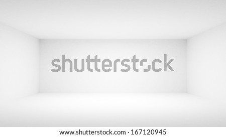 Abstract empty white room interior. Front view, 3d illustration - stock photo