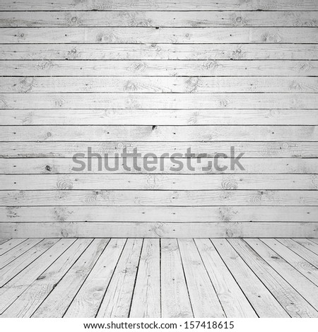 Abstract empty white room interior with wooden wall and floor - stock photo