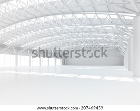 abstract empty white warehouse interior - stock photo