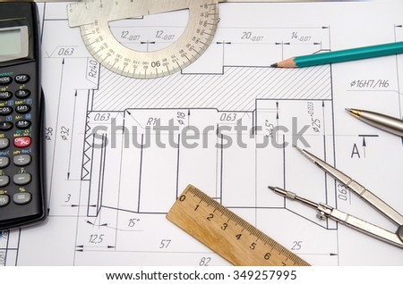 abstract engineering drawings - stock photo