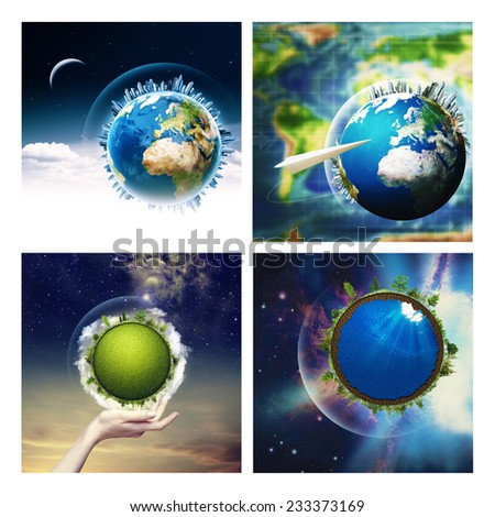 Abstract environmental backgrounds set with Earth globe for your design. NASA imagery used - stock photo