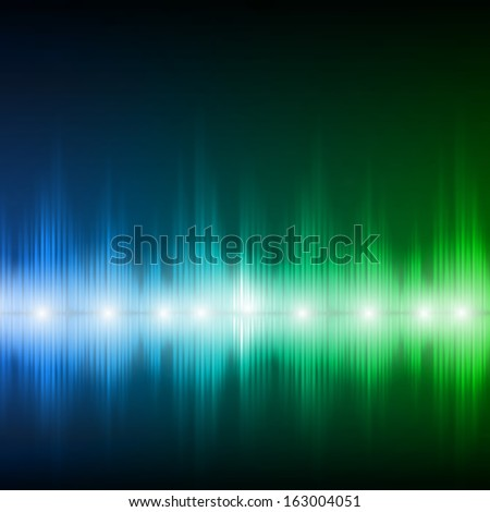 Abstract equalizer background. Blue-green wave. Raster version. - stock photo